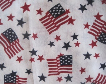 "Patriotic Fabric, US Flag, Stars and Stripes, Red White Blue, Cotton, 45"" Wide, 2.5 Yards x 46"""