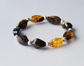 Amber bracelet four corners/ handmade/ baltic amber/ sterling silver