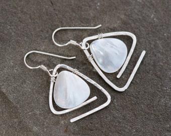 Mother of Pearl Earrings, White Shell Earrings, Hammered Sterling Silver Earrings, Geometric Earrings, White Earrings, Wire Wrapped Earrings