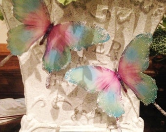 6 Pretty 3D Butterflies, colour pink, green, turquoise, frosted glittered wings, butterfly stickers wall decor butterfly decoration