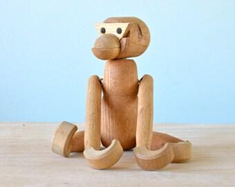 "SALE Vintage 7"" Kay Bojesen Knock-off Wooden Articulated Wooden Monkey, Made in Japan, Scandinavian Style, Viking Toy, Mid-century Modern"