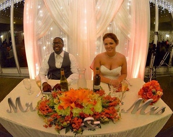 Dimensions / Size  Mr and Mrs top or sweetheart table  wedding signs