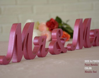 Mr & Mrs Sweet Heart Table Sign, Freestanding Mr and Mrs sign, Sweetheart table, Reception, Bridal Decoration