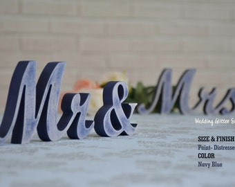 Navy Blue Mr and Mrs Wedding Signs, Mr & Mrs Wood Wedding Decoration, Navy Blue Wedding Sign Mr and Mrs