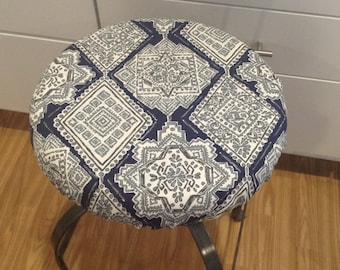 Elasticized round barstool cover, kitchen counterstool seat cover, Milan Vintage Indigo blue w/gray on white washable fabric, fabric options
