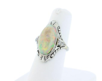 Platinum Opal and Diamond Accent Ring