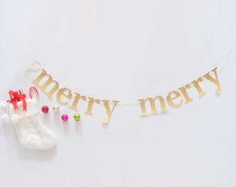 merry merry glitter banner Christmas garland decoration