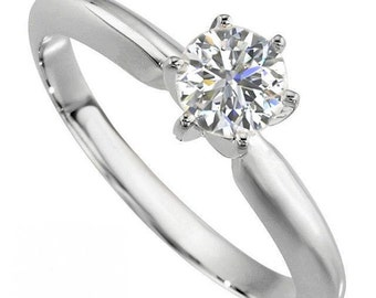 Brilliant Round Cut Genuine Moissanite Solitaire Engagement Ring .50 Carat 6 Prong Design in Solid 14K White Gold
