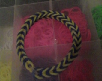 Blue and yellow rubber band bracelet