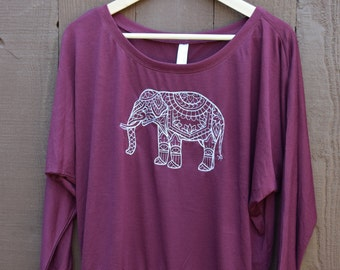 Triblend Long Sleeve Yoga Clothes with Embroidered Elephant