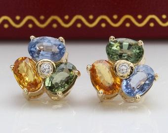 4.25CTW Natural MultiColor Ceylon Sapphire & Diamond in 14K Yellow Gold Earrings