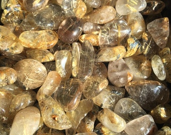 Rutilated Quartz, Gold Rutile Tumbled Gemstones, Venus Hair, Amplifier, Energy, Attunements, Power, Success
