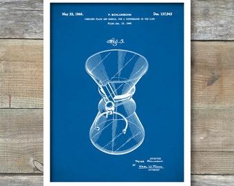 Patent Prints, Coffee Pot Patent, Chemex Coffee Pot patent Poster, Coffee Pot Print, Chemex Coffee Pot Art, Coffee Pot Wall Art, P175