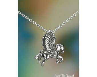 "Sterling Silver Pegasus Necklace 16-24"" or Pendant Only Winged Horse"