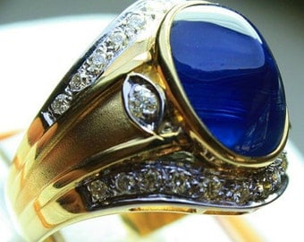 Majestic Real Diamond Sapphire Engagement Ring 14K Solid Gold
