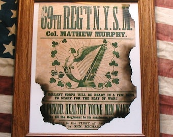 IRISH BRIGADE, 69th New York, Civil War Recuiting Poster, Antiqued Parchment
