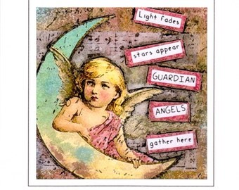 Guardian Angel Card, Cherub Angel Greeting Card, Angel Quote, 5x5 Note Card