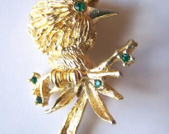 Vintage exotic bird brooch, Quetzal bird, gold tone, green crystals, green rhinestones.