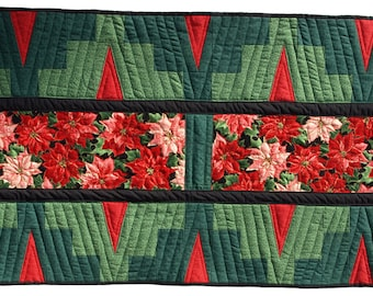 Red Poinsettia Pieced Table Runner