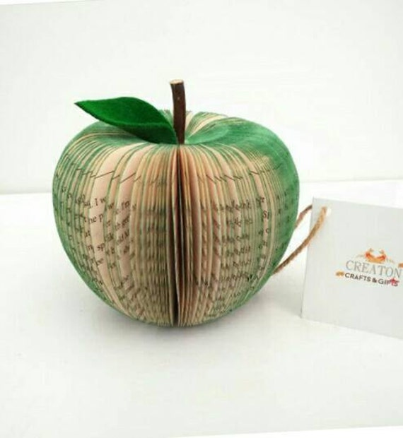Book Art Apple - Paper Fruit - 3D Apple - 3D Sculpture -  handmade from books hanging - Green Apple - Apple - 3d paper - Gift for teacher