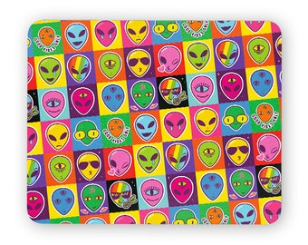 Aliens faces ufo - funny desk mouse pad, meme mouse pad, comptuer mouse pad, desk accessory mouse mat 3P098