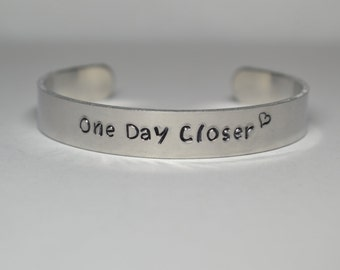 One Day Closer Hand Stamped Cuff Bracelet, Deployment, Deployed, Military Spouse, Military Girlfriend