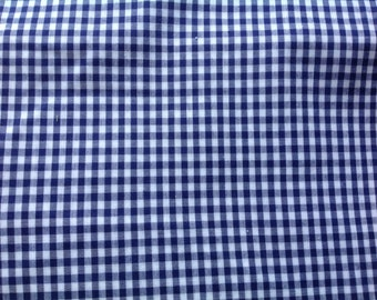 80s supply navy blue white check Gingam fabric