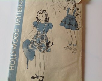 Vintage 40s Hollywood pattern 914 child's jumper skirt, blouse and panty size 6