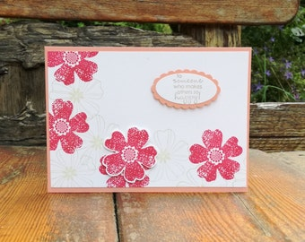 To Someone Who Makes Others Happy, Just Because, Handmade Card, Hand Stamped, Floral, Flowers, Pink, Feminine, Blooms, Stampin' Up
