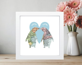 Penguins In Love Vintage Map Framed Print, Wedding or Anniversary Gift, Romantic Valentine's Day Keepsake, Displays 2 Locations