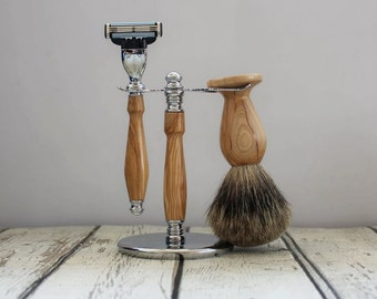 Olive Wood Shaving Set, with Mach 3 Razor, AAA Pure Badger Brush and stand, Hand Turned