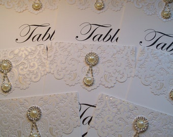 Wedding Table Number. Luxury Table Number. Lace and Pearls.