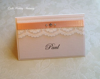 Wedding Place Name Card. Seating Card. Vintage Style Wedding.