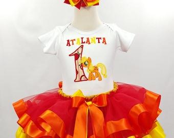 My Little Pony Applejack Birthday Satin Ribbon Tutu-Personalized Birthday Tutu,Sizes 6m - 14/16