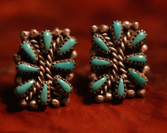 Beautiful Vintage Turquoise and Sterling Silver Earrings