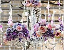12 Strands 15inches Clear Crystal Acrylic Bead Garland Briolette Pendant Chandelier Hanging Wedding Decorations Centerpieces