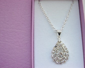 """Rhinestone Teardrop Pendant Necklace 25mm (1"""") Sparkly Clear Crystal Necklace for Women Evening Wear Jewellery Gift"""