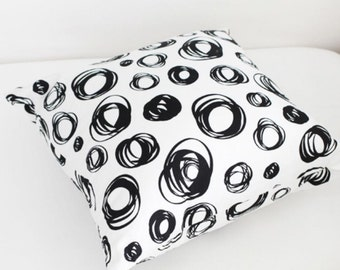 Twill Cotton Fabric Black and  White Drawing Circles By The Yard