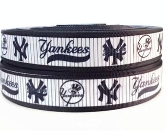 7/8 inch Grosgrain New York Yankees Baseball Ribbon, Yankees Ribbon, Yankees Grosgrain, Grosgrain By The Yard by KC Elastic Ties