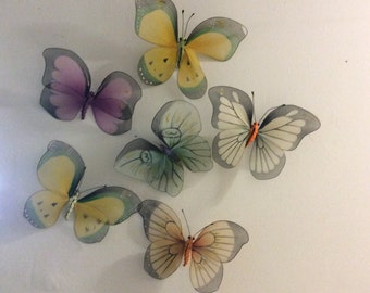 Butterflies, vintage hand made wall hangings for little girls room.