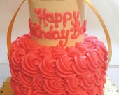 Dog Cake - Rosette Style - Miniature 2-Tier - (Serves about 5-6)