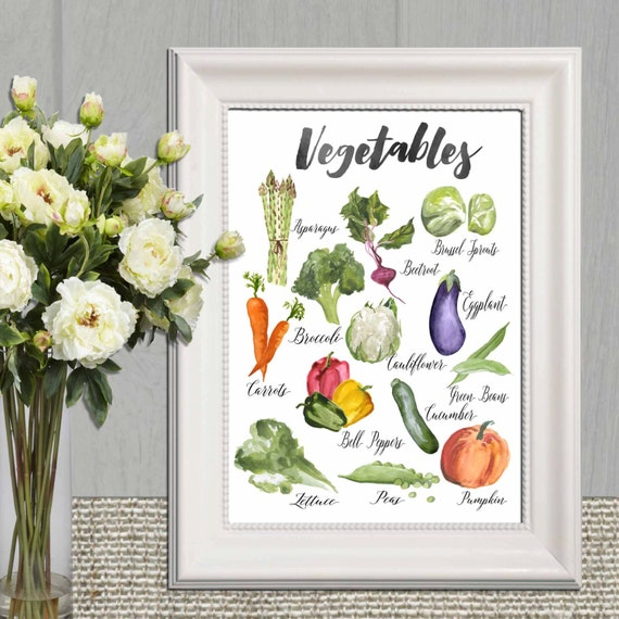 Purple Vegetable Wall Art: Kitchen Decor Printable Vegetable Print Kitchen Vegetable Wall
