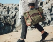 Waxed Canvas Bag  Leather Satchel  Canvas Messenger Bag  Wax Canvas  Messenger Bag  Waxed Backpack