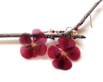 Real Flower Jewelry - Real Flower Earrings - Botanical Jewelry - Pressed Flowers - Geranium Jewelry - Nature Jewelry