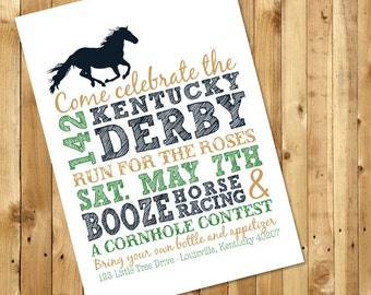 142 Kentucky Derby Party Customizable Invitation with 2016 colors