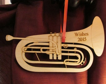 "Laser cut and engraved wooden ""Baritone"" Ornament"