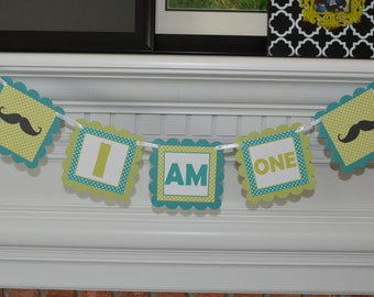Mustache High Chair Banner -  Teal and Lime Green - I am ONE - I am 1 Mustache Banner - 1st Birthday Banner - Party Packs Available