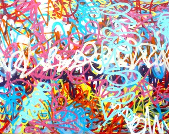 Chris Riggs original abstract expressionism painting canvas modern contemporary fine street art spray paint