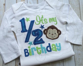 Monkey Half Birthday | 1/2 Birthday | Shirt or Bodysuit | Personalized |Custom Appliquéd & Embroidered | You Choose Colors | By Sixpence