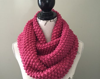 Knitted infinity scarf, Infinity scarf, Knit Scarf in raspberry